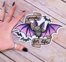 Spooky for Life Pink Purple Vampire Bat Iron On by MTthreadz