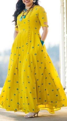 New Yellow Long Gown is Anarkali Style Gown with Thread Work Embroidery.Georgette Anarkali Style Gown for Birthday Party Long Gown Dress, Frock Dress, The Dress, Saree Dress, Dress Skirt, Kurta Designs Women, Salwar Designs, Designs For Dresses, Dress Neck Designs