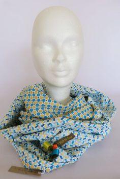 «Bleu» Ronds Écailles - Foulard tube - Snood - Tour de cou 2 tours – bleu blanc jaune ocre moutarde gris