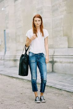 jeans, tee + Converse