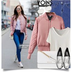Yoins: Pink Bomber Jacket by yoinscollection on Polyvore featuring Michael Kors and Victoria Beckham