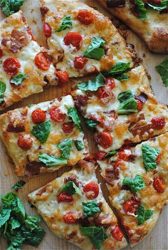 BLT Pizza (all-purpose flour, fast-rising active yeast, salt, beer, water, creamy caesar dressing, red pepper flakes, bacon, cherry tomatoes, mozzarella cheese, romaine lettuce)