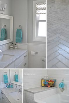 Guest Bath Idea White And Gray Bathroom With Subway Tile Herringbone Carrara Marble Floors And Silestone Lagoon Countertops