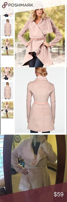 Venus Belted Drape Front Coat  Lovely blush pink colored lightweight coat. Draped in the front and feels like velour. Comes with pink faux leather belt. 90% polyester and 10% viscose. Very flattering for all body types! Barely ever worn and now that I'm moving to a warmer climate I won't be needing all my jackets! Venus  Jackets & Coats Trench Coats