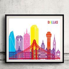 Dallas pop art skyline  Fine Art Print Glicee Poster by Paulrommer