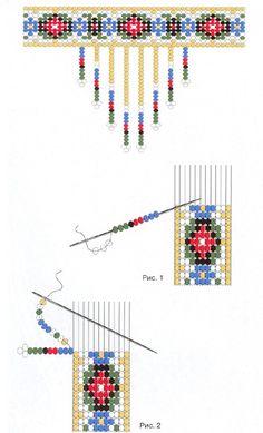 схема плетения стойки из бисера