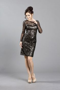 Short sexy long sleeved sequin party dress with a sheer neckline and sleeves, form fitting bodice with a matching beading scattered around the top. COYA CS1229 #CoyaCollection #Homecoming #PartyDress #Prom