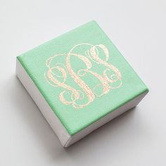 Custom Personalized Mint and Gold Monogrammed Canvas by SimplyJessicaMarie on Etsy, $25.00