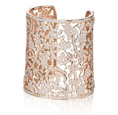 Lace Cuff Bracelet in 18k rose gold with diamonds. #tabbah #houseoftabbah