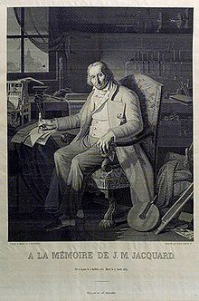 The Most Famous Image in the Early History of Computing    This portrait of Jacquard was woven in silk on a Jacquard loom and required 24,000 punched cards to create (1839). It was only produced to order. Charles Babbage owned one of these portraits ; it inspired him in using perforated cards in his analytical engine.