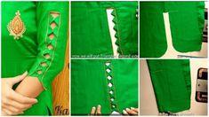 Beautiful sleeves designs in very easy way - ArtsyCraftsyDad Chudi Neck Designs, Neck Designs For Suits, Sleeves Designs For Dresses, Blouse Neck Designs, Hand Designs, Sleeve Designs, Kurti Sleeves Design, Kurta Neck Design, Churidar Neck Designs