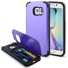 S6 Edge Case, Tauri [Card Slot Case] Samsung Galaxy S6 Edge [Stand Function] Heavy Duty Hybrid Armor Case [Dual Layer] TPU Rubber Cover + Premium Hard PC Outer Shell Cover for Samsung Galaxy S6 Edge – Verizon, AT&T, Sprint, T-Mobile, International, and Unlocked (Purple) #samsung #S6 #edge