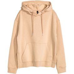 Hooded Sweatshirt $24.99 (€21) ❤ liked on Polyvore featuring tops, hoodies, sweaters, clothing - hoodies, beige top, hoodie top, ribbed top, beige hoodie and h&m tops