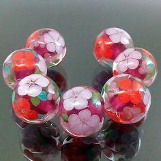 PIKALDA=handmade lampwork 7 glass beads flower blossom rubino=SWEET GARDEN=SRA
