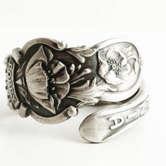 Vintage California Poppy Spoon Ring, California Souvenir in Sterling Silver with Poppy Flowers, Handmade Gift for Her, Custom Ring Size 6631 by Spoonier on Etsy