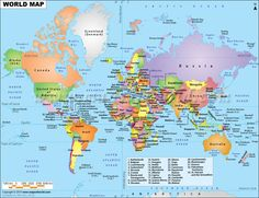 Explore the earth with the Map of the World by MapsofWorld. This World Political Map is perfect piece to meet your travel, geography reference and educational needs. Free Printable World Map, Printable Maps, Flat World Map, World Geography Map, Geography Quiz, World Political Map, World Globe Map, World Atlas Map, World Map With Countries