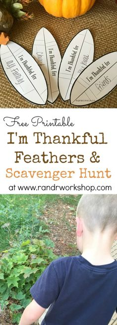 I'm Thankful Turkey Feather Printable