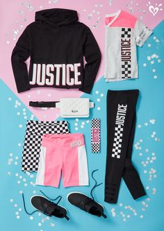 sporty outfits for winter Justice Girls Clothes, Girls Sports Clothes, Justice Clothing, Girls Fashion Clothes, Kids Outfits Girls, Cute Girl Outfits, Tween Fashion, Teen Clothing, Clothing Sites