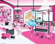 Mural infantil Barbie : Qué bonito este mural infantil ideal para decorar una habitación dedicada a la muñeca Barbie. Sus medidas son 304x 243 y su precio 60,20 euros en la tiend