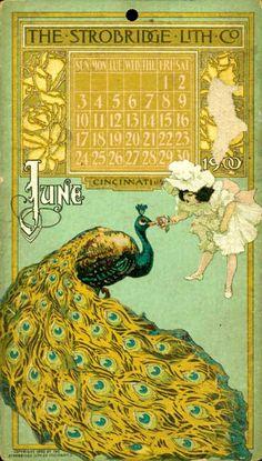 Strobridge Litho Co - June 1900 Pagan Calendar, Art Nouveau Mucha, Paper Frames, Old Paper, Print Ads, Vintage Photography, Paper Dolls, Advertising, Bird
