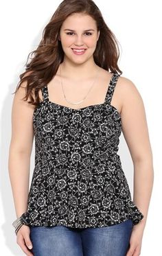 Deb Shops Plus Size Floral Print Peplum Tank Top with Bow Back