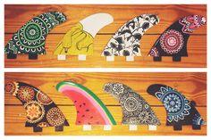 Fin Art by: Kennady Grow #finart #surfboard #surfboardfin #artwork #watermelon #banana #mandala