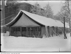 Vintage Photographs of Toronto Snow Storms that took place over the years including some of the aftermaths and how the city dealt with the snow. Toronto Snow, Toronto Ontario Canada, Snow Storms, Vintage Photographs, Tent, Cabin, House Styles, Places, Cabin Tent