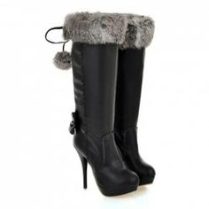 $27.44 Sexy Women's Knee High Boots With Bowknot and Faux Fur Design
