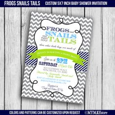 Frogs and Snails and puppy dogs' tails boy baby shower invitations, aqua, orange, green - printable digital file.Free customization!