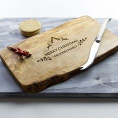 Need a Christmas gift but ran out of ideas? Have a look at our newest design! We think it makes a perfect Christmas gift or the perfect board to serve cheese and biscuits after eating far too much Christmas dinner!   Engraved on a beautifully designed and unique artisan board ideal for use as a chopping, cheese, cutting, serving or antipasti board, made from beautiful olive wood. Ideal to personalize and give to any cheese lovers or foodies this Christmas.