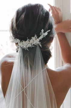 MARION | delicate floral bridal comb, ivory wedding headpiece