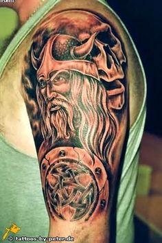 viking tattoos for guys | Left Half Sleeve Viking Warrior Tattoo For Men