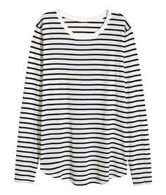 Langarmshirt | Weiß/Schwarz gestreift | Damen | H&M DE