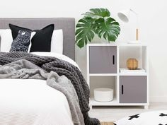 Mocka Penny Throw - Charcoal, with Six Cube, Tilly Lamp and Mod Headboard
