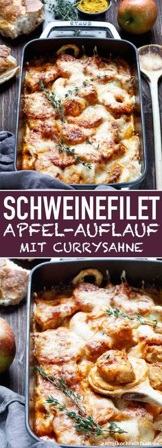 Gratinierter Schweinefilet Apfel Auflauf mit Currysahne - emmikochteinfach Filete de cerdo gratinado y guiso de manzana con crema de curry - www. Apple Recipes, Pork Recipes, Seafood Recipes, Mexican Food Recipes, Chicken Recipes, Ethnic Recipes, Vegetarian Recipes, Pork Fillet, Seafood Appetizers