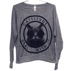 Burger And Friends: Cattitude Raglan Women's Gray, at 16% off!