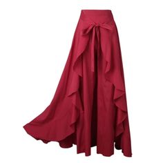 Wrap Skirts Women Casual Navy Chiffon TieWaist Ruffle Wide Leg Loose Pants Color Black Size S Ruffle Pants, Ruffle Skirt, Skirt Pants, Look Fashion, Fashion Outfits, Womens Fashion, Feminine Fashion, Modest Fashion, Wrap Pants