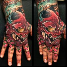 perro fu tattoo new school Hand And Finger Tattoos, Hand Tats, Hand Tattoos For Guys, Wrist Tattoos, Body Art Tattoos, Foo Dog Tattoo, Sick Tattoo, Hannya Tattoo, Irezumi Tattoos