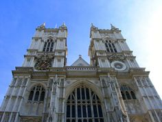 Looking up at the massive entrance to Westminster Abbey.