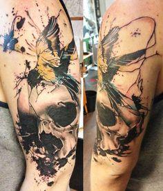 Abstract Skull Tattoo by Jacob Pedersen - http://worldtattoosgallery.com/abstract-skull-tattoo-by-jacob-pedersen-4/