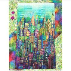 """Cotton New York City Sky Line Skyline Cityscape City Scape Skyscraper Tower Buildings Urban Rainbow Multi-Colored Digital Print Cotton Fabric Print by Yard Ideas: Make the """"Skylines Circle Quilt"""" out of this fabric. City Gallery, Quilt Modernen, Panel Quilts, Cotton Quilts, Cotton Fabric, Applique Quilts, Quilting Fabric, Machine Quilting, Quilting Projects"""