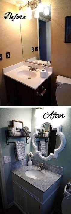 20 design ideas for a small bathroom renovation Fun Home Design – Small Kitchen Ideas Storages Small Half Bathrooms, Bathroom Small, Bathroom Storage, Bathroom Baskets, Bathroom Rack, Paint Bathroom Cabinets, Small Bathroom Ideas On A Budget, Redo Bathroom, Bathroom Niche