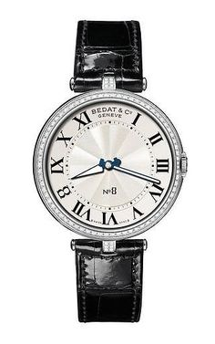 Bedat & Co. - Stainless Steel and Diamond Ladies' Watch on Black Alligator Strap