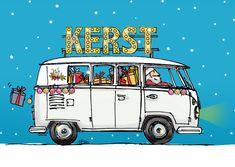 Kerstkaart vw bus wit av , verkrijgbaar bij #kaartje2go voor €1,89