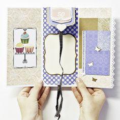 Handmade scrapbooking card.  Tarjeta postal felicitación 50 cumpleaños hecha a mano.  Visita: http://piedrapapelscrap.weebly.com