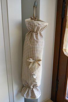 Porta buste/sacchetti da appendere (in tessuto, fatto a mano)