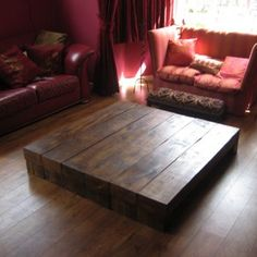 The Pedastal Table is a seriously chunky Coffee Table which appears to float above the floor thanks to its cantilevered beams. Handmade Furniture, Shabby Chic Furniture, Diy Furniture, Furniture Design, Bedroom Furniture, Pedastal Table, Low Coffee Table, Wood Company, Moving Furniture