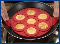 cooking pancakes - This product is so simple to use. Start out by pouring the batter into the molds which are on the preheated pan. Then next, just lift and flip. Enjoy your perfectly shaped golden brown pancakes.