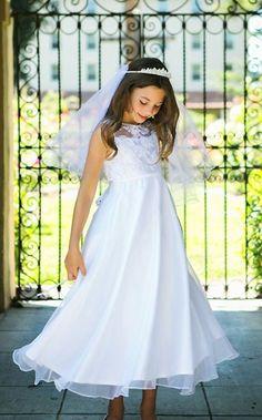 White sheer lace bodice flower girl dress ea128e6d374d