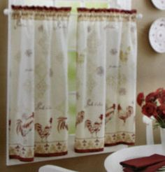 Superior Rooster Kitchen Curtains | NEW ROOSTER VINTAGE COTTAGE SET 2